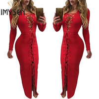 IMYSEN Sexy Lace Up Dress Autumn Winter New V Neck Collar Long Sleeve Maxi Dresses Solid Red Party Vestido Nightclub