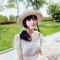 Новая Мода Складной Солнце Шлем Соломенная Шляпка Для Женщин Летний Пляж Крышка Лук Ленты Шляпы Богемия Шляпу