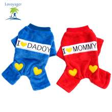 2016 Hot Sale Autumn And Winter Pet Dog Clothes I Love Daddy Mummy Dog Hoodies Dog Coats Size S-XXL Dog Clothes Chihuahua