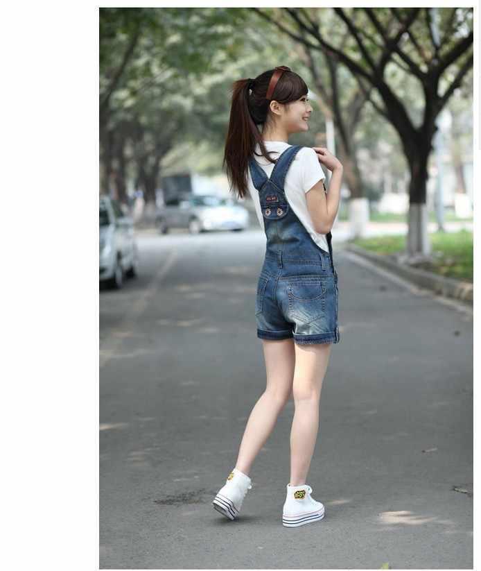 2018 Ретро летнее платье в школьном стиле; свободные джинсовые комбинезоны больших размеров Винтаж Шорты Штаны подтяжки комбинезоны для женщин A0192