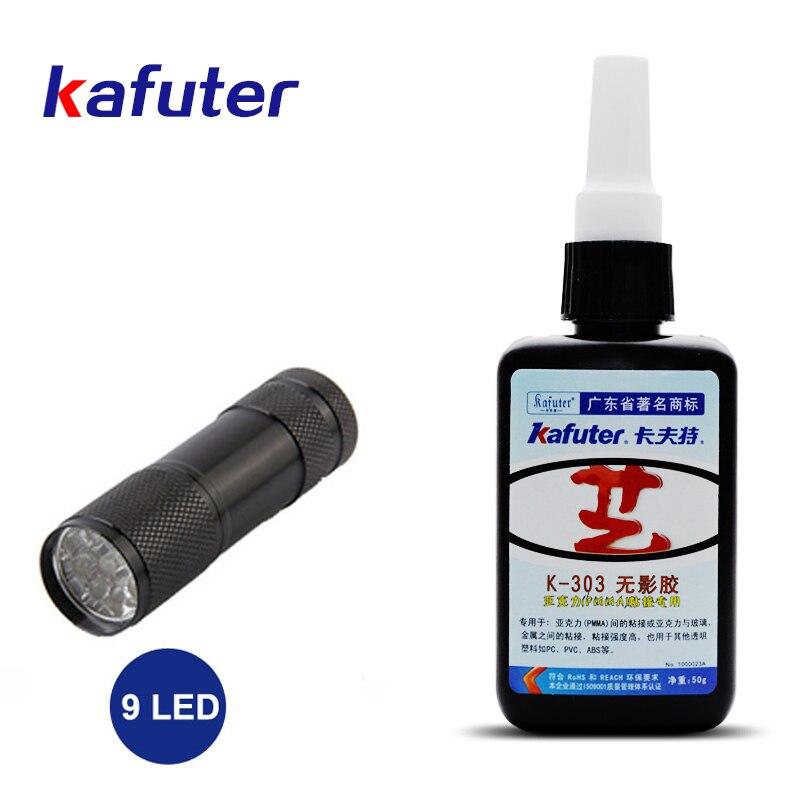 Kafuter 50ml K-303 UV glue acrylic transparent adhesive UV curing adhesive and Glass Adhesive with 9LED UV Flashlight kafuter 50ml uv glue uv curing adhesive k 300 transparent crystal and glass adhesive
