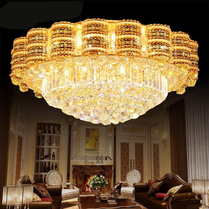 US $266.34 54% di SCONTO|Luxury Crystal LED Lampadario Soggiorno Atmosfera  di illuminazione Soggiorno Lampada Di Cristallo Di Luce Rotonda Lampade di  ...