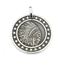 LINSION Stars Round 999 Sterling Silver Indian Chief Skull Mens Biker Punk Pendant 9X303 Just Pendant