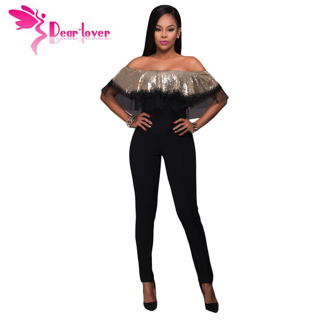 7ab6707d8810 Dear-Lover Sexy Club Party Off Shoulder Playsuit Gold Sequin Ruffle Top  Slim Jumpsuit High