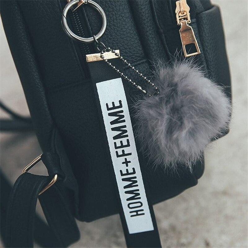 Женские мини-рюкзаки Miyahouse из мягкой искусственной кожи, студенческие пушистые школьные ранцы на плечо с подвеской-шариком, маленький дорожный ранец для женщин-1
