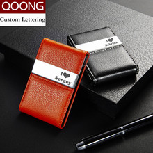 QOONG Big Capacity Travel Card Wallet Leather Men Women Credit ID Card Holder B Card Case Metal Wallet Cardholder Carteira недорого