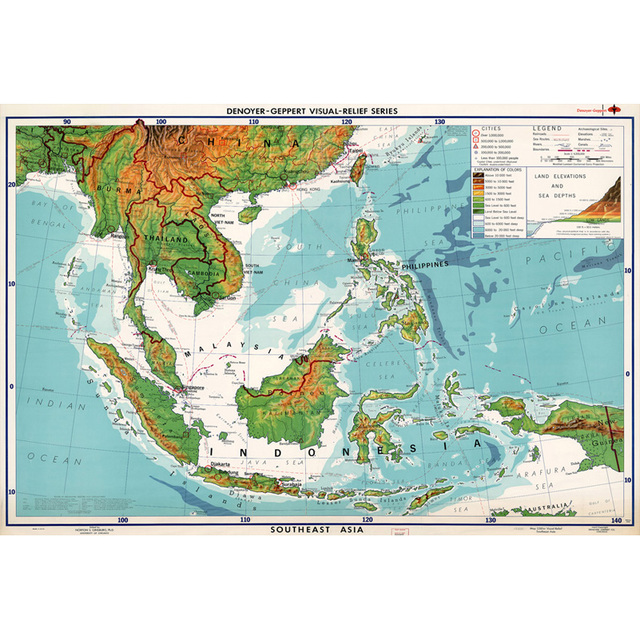 World Map Of Southeast Asia.Southeast Asia Teaching Design World Map Home Decoration Paintings