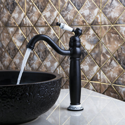 ФОТО Hello Tall Wash Basin Bathroom Oil Rubbed Black Bronze 97105 Deck Mounted Ceramice Single Handle Sink Torneira Faucets Mixer Tap