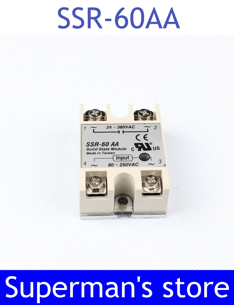 1pcs Free shipping solid state relay SSR-60AA 60A 80-250V AC TO 24-380V AC SSR 60AA relay solid state high quality ac ac 80 250v 24 380v 60a 4 screw terminal 1 phase solid state relay w heatsink