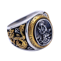 Real Pure 925 Sterling Silver Mother Buddha Carving Lotus Azure Dragon Gold Plated Special Handmade Vintage