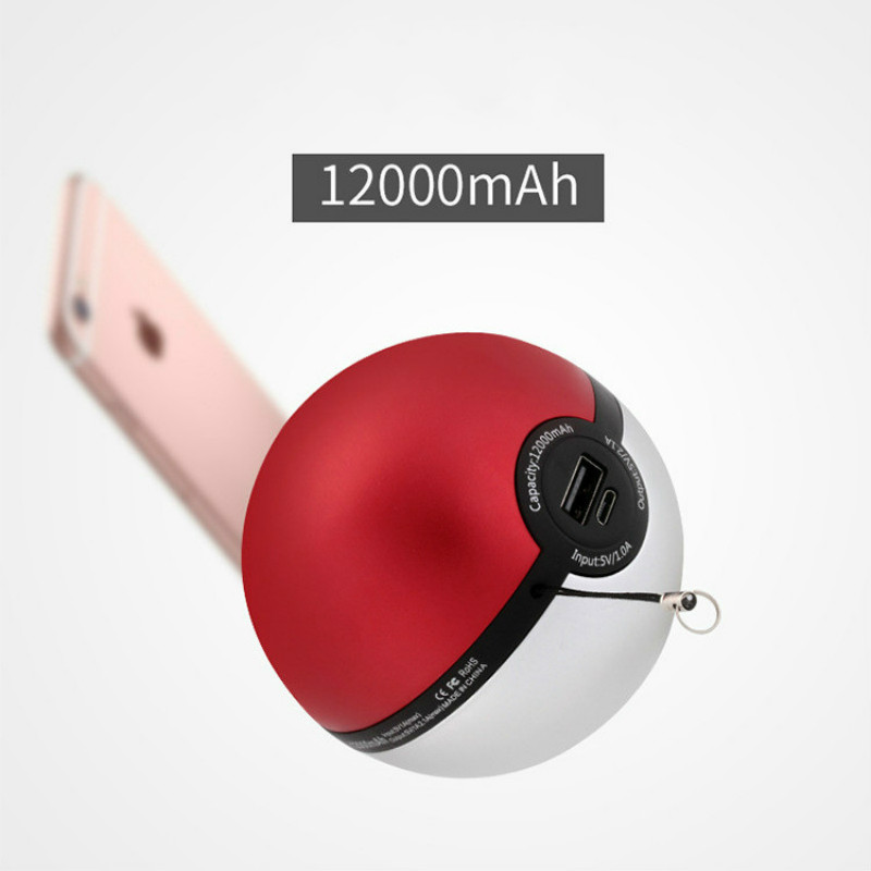 NS Mobile Phone Charger Alloy 5V/2.1A Output 12000mAh Pokeball Power Bank Charger Custom Christom Gift Pokemons Go Powerbank