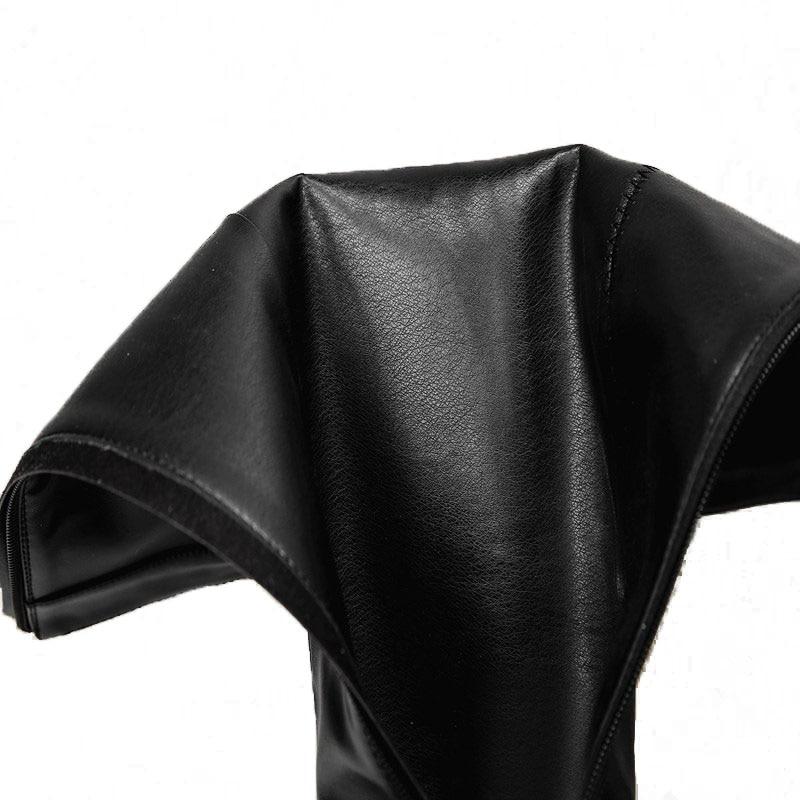 D'hiver En Bande Appartements De Luxe Patchwork Taille Élastique 42 Bottes Femmes Chaussures Véritable Carzicuzin marron 33 Haute Noir Genou Cuir Femme wO7Ixg6q0