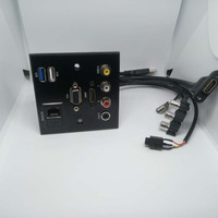 Aluminum alloy extension cord socket panel VIDEO L R AUDIO HDMI VGA USB NETWORK patch board No welding connector