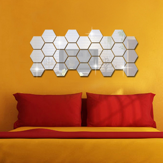 3D Hexagon Acrylic Mirror Wall Stickers 5