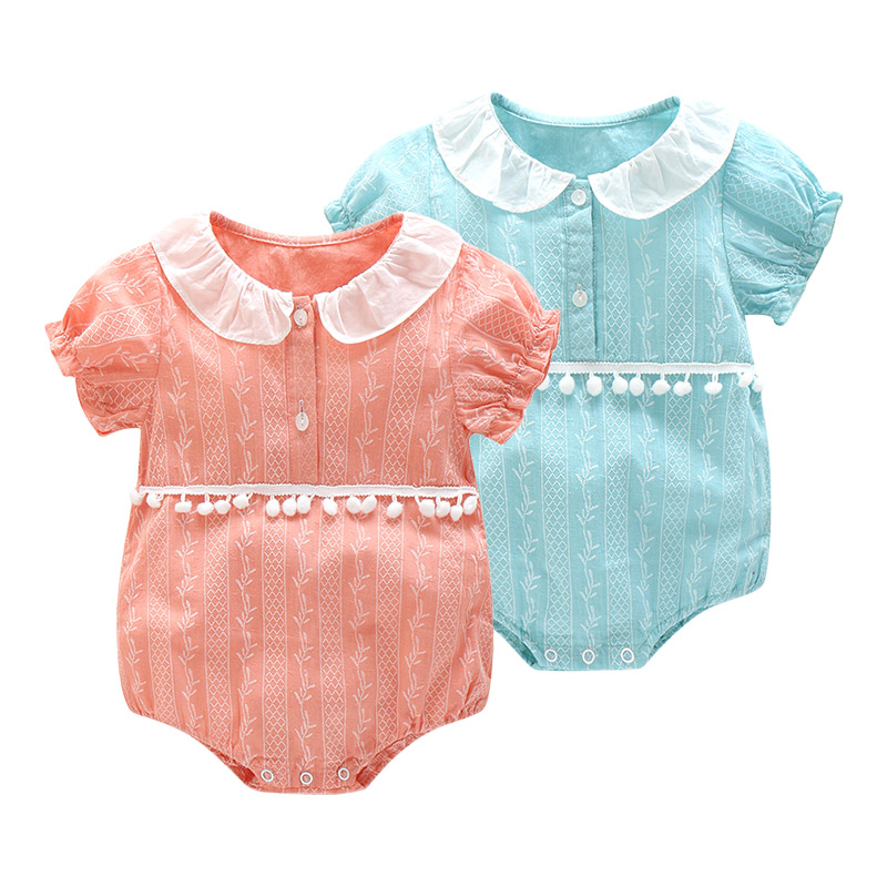 Cute baby girls jumpsuits infant rompers baby Toddler Overalls Button Rompers Princess Kids Clothes new arrival Rompers pompoms 2017 new fashion cute rompers toddlers unisex baby clothes newborn baby overalls ropa bebes pajamas kids toddler clothes sr133