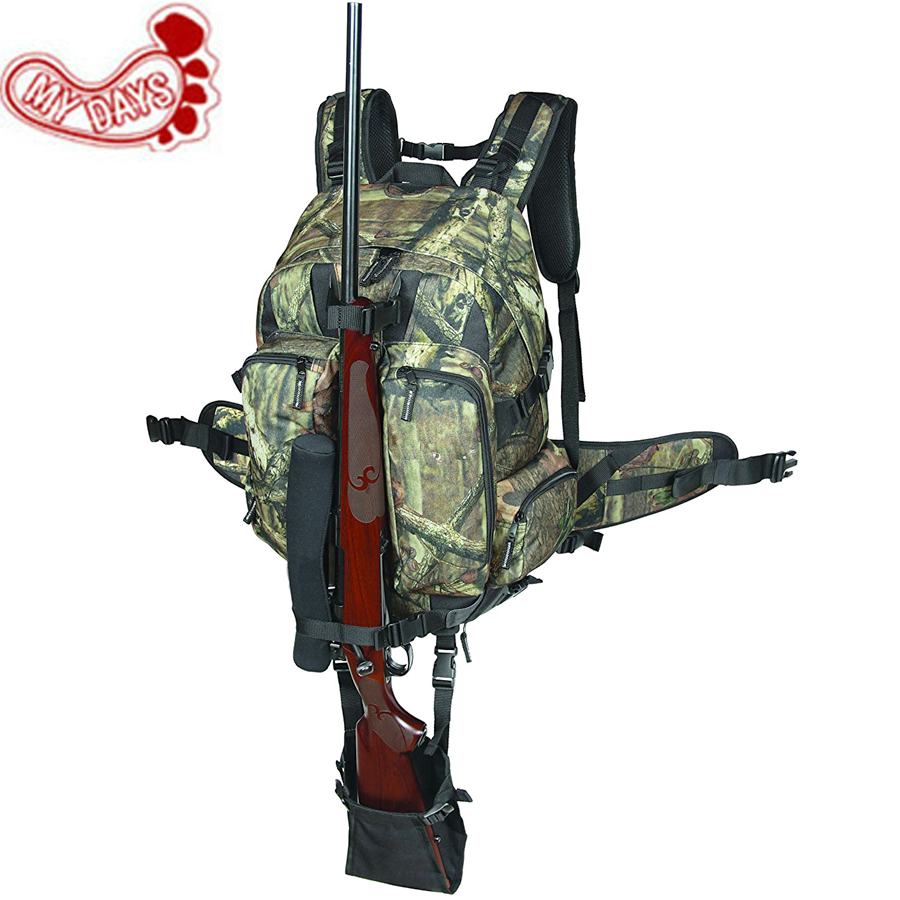 MY DAYS Camouflage Tactical Rifle Backpack Hunting Gun Bag Airsoft Paintball Shotgun Daypack with Integrated Gun Carry System 47 folding fishing rod bag tactical duel rifle gun carry bag with shoulder strap outdoor fishing hunting gear accessory bag
