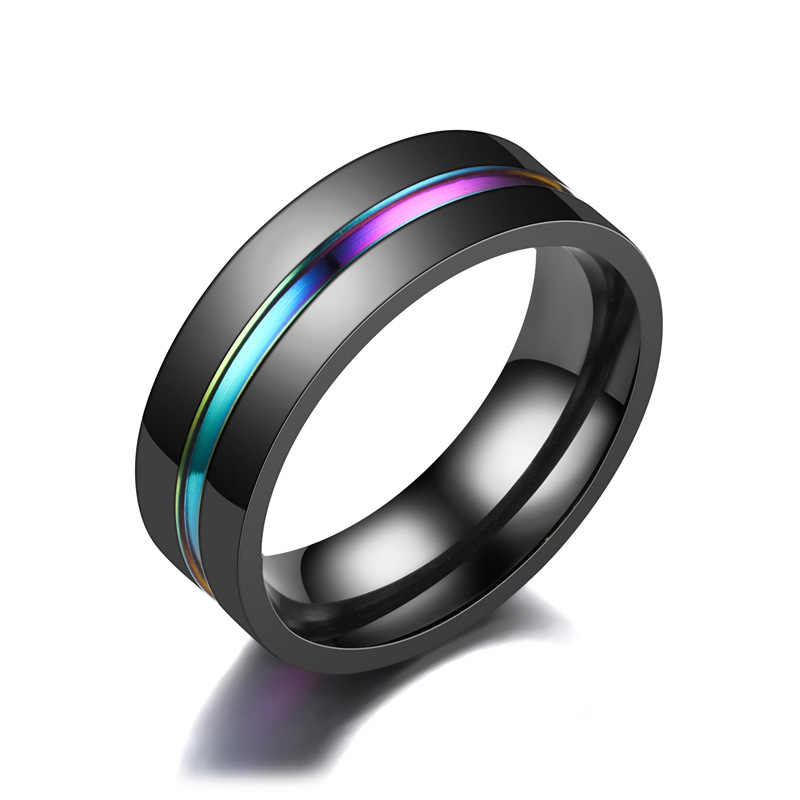 Fashion New Punk Noble Rainbow Groove Stainless Steel Rings For Women Black Ring Men Jewelry