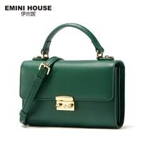 EMINI HOUSE Split Leather Padlock Flap Bag Women Handbags Women Messenger Bags Luxury Shoulder Bag Crossbody