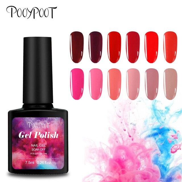 Pooypoot Color Coat Gel Nail Polish Red Pink Series Hybrid Gel ...