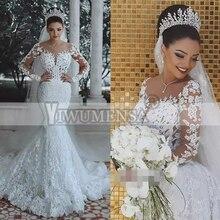 Одежда с длинным рукавом Русалка свадебное платье-бохо с кружевными аппликациями, элегантные свадебные платья Robe De брак индивидуальный заказ платья для матери невесты