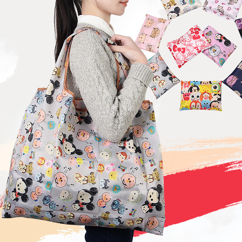 Disney Cartoon Folding Shopping Bag Mickey Mouse Bag Storage High Capacity Handbags Green Tote Bag Hand Girl Shoulder Bag