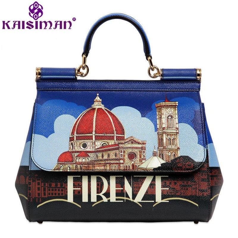 Luxury Italy Brand Genuine Leather Handbag Top Design Florence Fashion City Printed Sicily Retro Evening Party Bag Clutch Purses