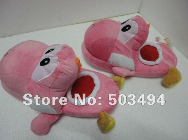 Free shipping EMS Super Mario YPInk Yoshi Plush Doll Toys Slippers Adult Size 11inches