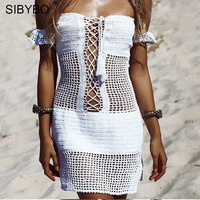 Sibybo Sexy Crochet Hollow Out Beach Dress Summer Boho Knitted Off Shoulder Mini Dress Tube Vintage 90s Women Sundress