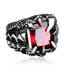 DoreenBeads Dragon Claws Punk Ring Men Stainless Steel Jewelry Fashion Vintage Hight Quality Red/Blue/Black Zircon Mens Rings