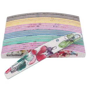 Image 5 - Ensemble de limes à ongles imprimées fleurs, bloc tampon coloré 80/100/150/180/240/320, outil de manucure, nouveau