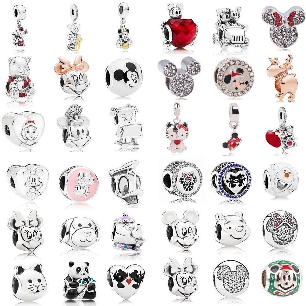 Ranqin Necklace European Fashion New Gift Original Pink Bead Fit Pandora Charm Bracelet Women Pendan Minnie Donald Duck Dog(China)