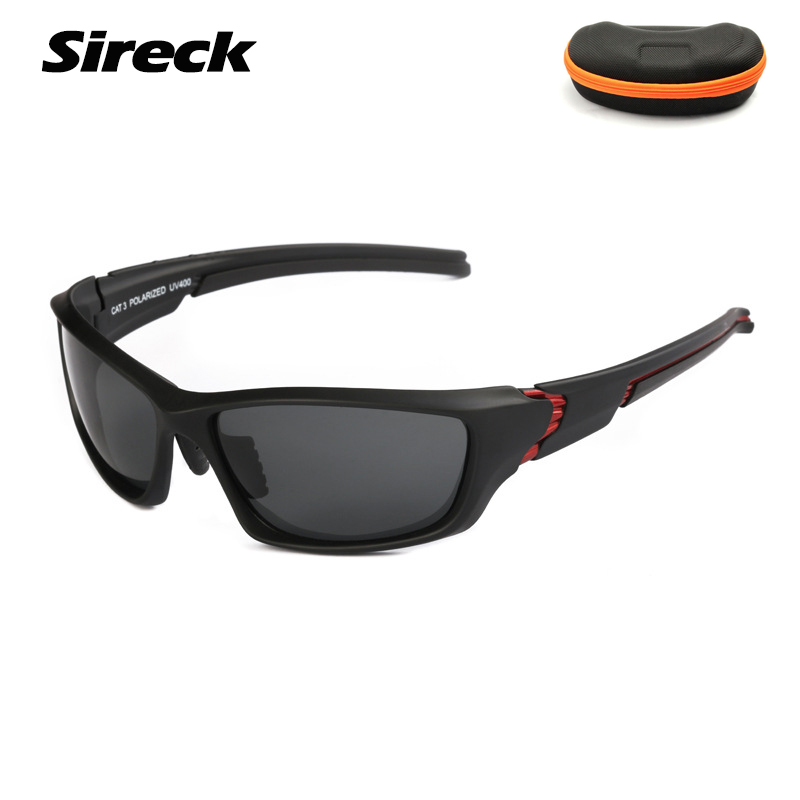 Sireck Polarized Cycling Sunglasses Ultralight Unisex Cycling Glasses UV400 Sport Bicycle Glasses Black Driving Cycling Eyewear
