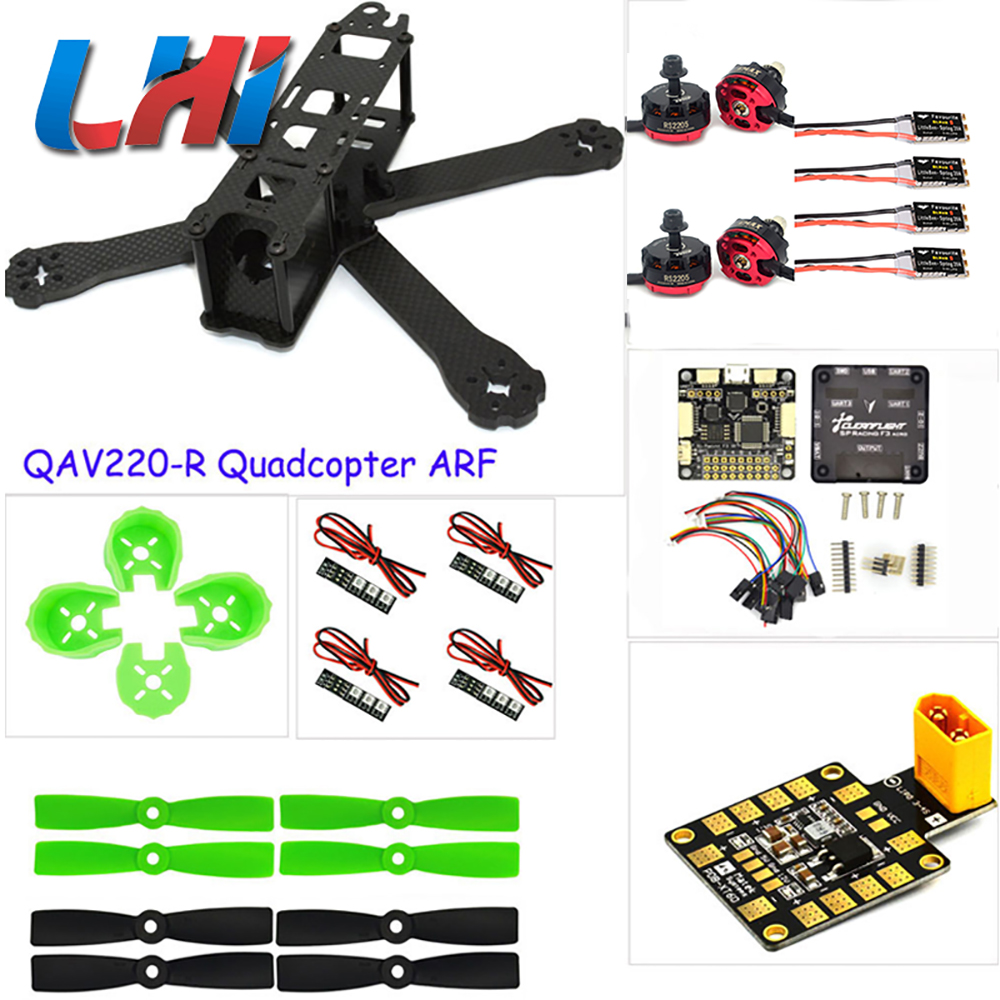 DIY drones Carbon fiber mini drone quadrotor 220mm quadcopter frame for QAV-R 220+F3 Flight Controller RS2205 2300KV Motor rc plane qav zmr250 3k carbon fiber naze 6dof rve6 rs2205 favourite 20a emax