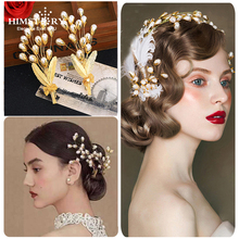 Himstory Handmade Vintage Gold Leaf Flower Branch Hairpins Wedding Pearl Hair Pins Bridal Large Hairwear Accessories