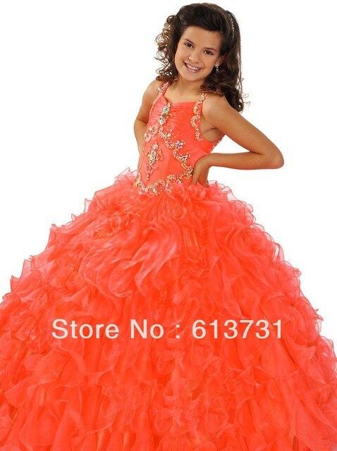 billige 2015 orange mädchen festzug kleider pailletten rüschen ...