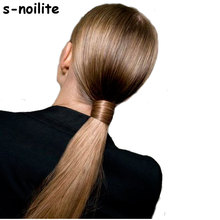 S-noilite real thick clip in pony tail hair extensions 58-66CM Straight Black Brown Blonde Wrap Around on Synthetic Hairpiece