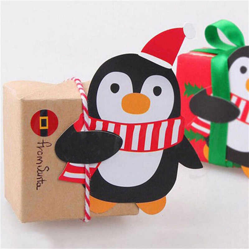 25pcs Christmas Lollipop Sticks Paper Candy Chocolate Cak Xmas Decor Gift Penguins Santa Claus Snowman Cake Chocolate Pops
