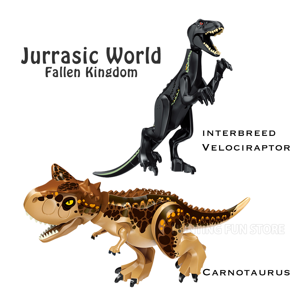 Jurassic World Park 2 Fallen Kingdom Carnotaurus & Interbreed Velociraptor Dinosaur Dragon Figures Building Blocks Toy kids Gift