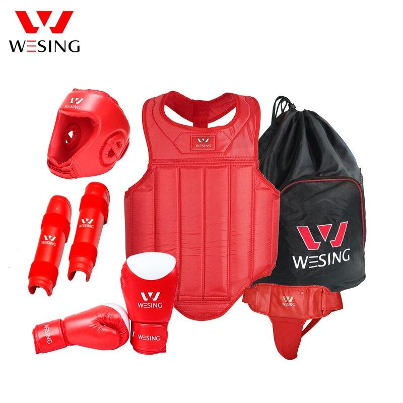 Wesing Wushu Sanda Ensembles 6 pc Équipement De Protection Poitrine Garde Casque Protection partisan Sanda De Protection