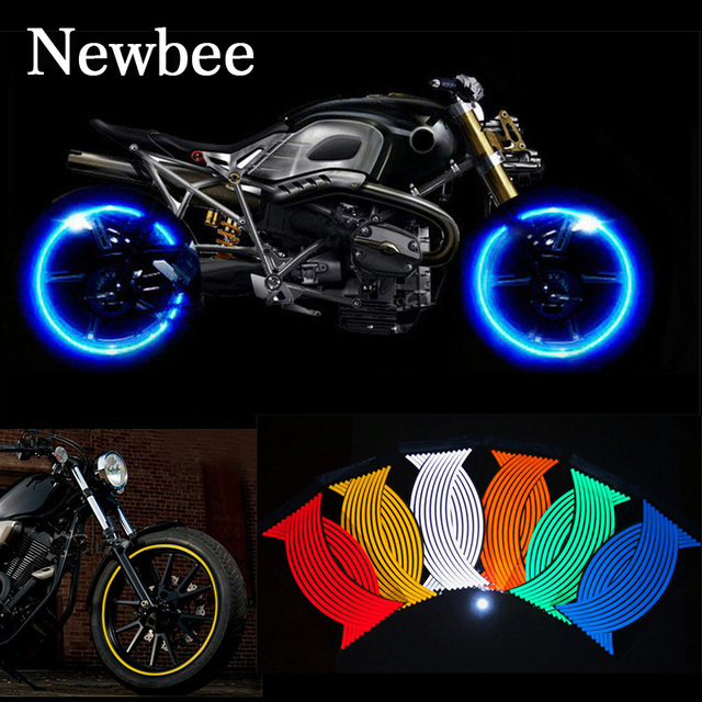 Newbee unids 16 piezas de tiras de la rueda de la motocicleta pegatina reflectante calcomanías de la cinta de la llanta del coche de la bici del estilo para YAMAHA HONDA SUZUKI Harley BMW