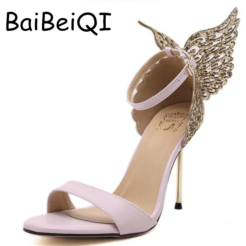 Explosion Models 2017 New Fashion Valentine Shoes Bronzing sequins Butterfly High Heels Sandals Stiletto Party
