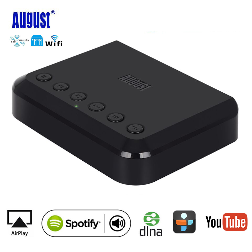August WR320B Wireless WIFI Audio Stream Adapter Multiroom Airplay Spotify DLNA Bluetooth Music Audio Receiver for Home Theater