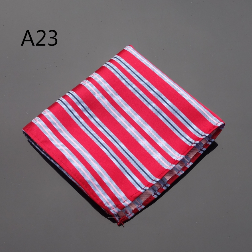 Ikepeibao Handkerchief Striped Red Hankies Men's Jacquard Woven Pocket Square