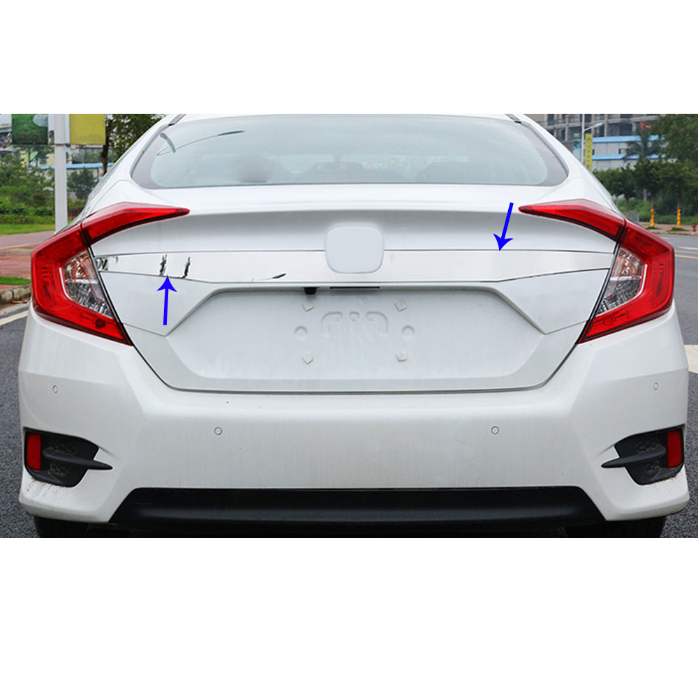Stainless Steel Car Cover Body Rear License Plate Door Upper Tailgate Plate Trim Decoration Fit For Honda Civic Sedan 2016-2018 Back To Search Resultshome