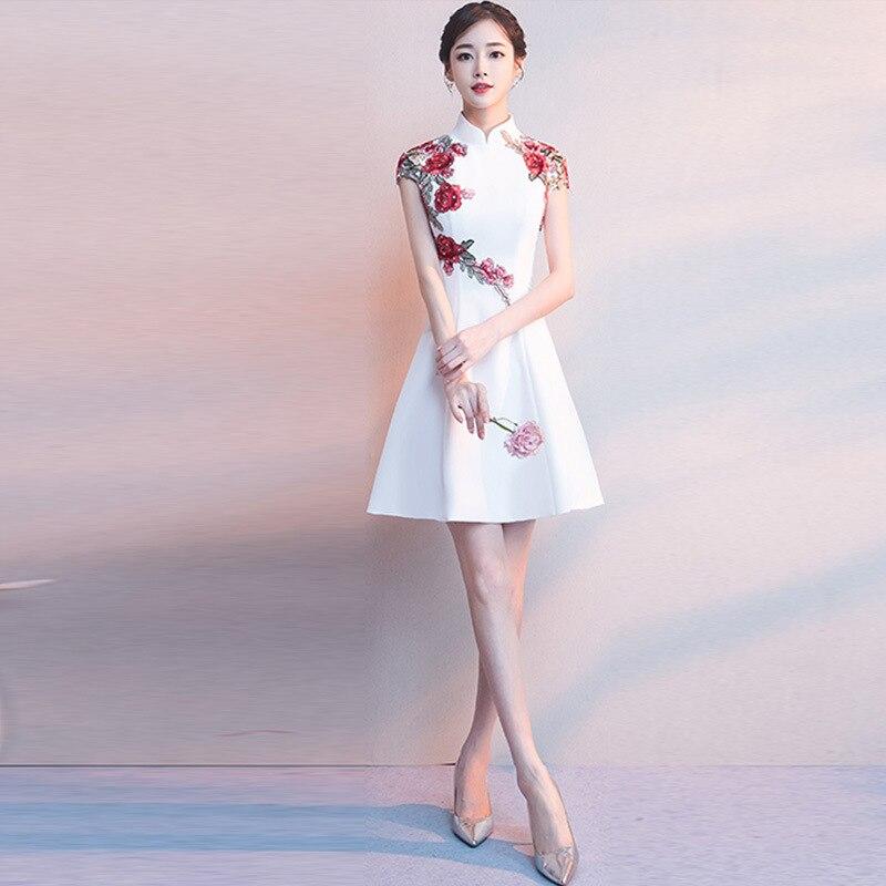 Modern Elegant Dress Wedding Pi Pao Short Cheongsam Dress Mini Qipao Chinese Oriental  White Evening Dress Women Hot