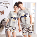 Summer short-sleeve lovers sleepwear thin female 100% cotton at home set Relaxed male lounge