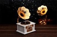 Diy Modelo de Caixa de Música de Gramofone Do Vintage Caixa de Jóias Caixa de Música Musical para Crianças Toy Kids Presentes caixa de musica