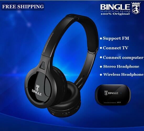 100% de Alta Qualidade B616 Bingle TV Computador Fone de Ouvido Multifunções Sem Fio fone de Ouvido Fone De Ouvido com Rádio FM para MP3 PC TV Áudio