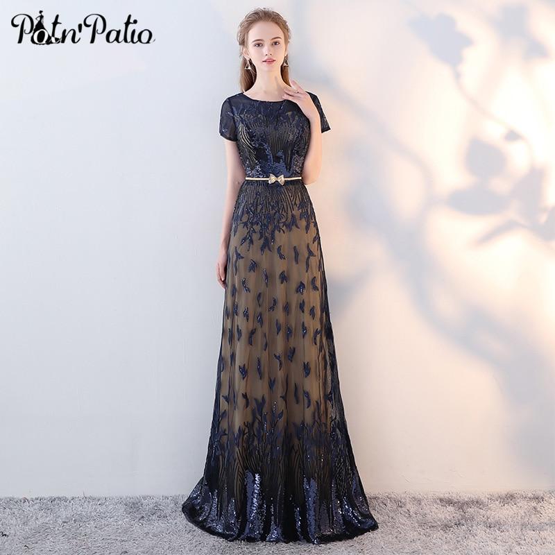 Vintage Sequin Long Prom Dresses Elegant Embroidered Navy ...