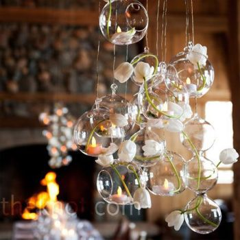 Handmade 12PCS/Set Hanging Tea-light Holder Glass Decor
